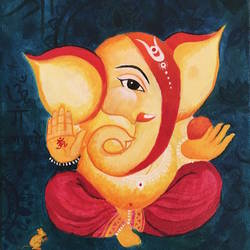 Lord Ganesha acrylic paintings on canvas size - 10x12In - 10x12