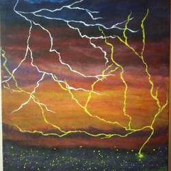 Lightening war in Heaven size - 12x16In - 12x16