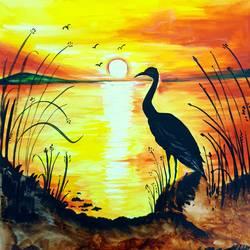 Bird near shore size - 10.5x12In - 10.5x12