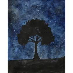 Night Sky and the tree size - 8.27x11.69In - 8.27x11.69