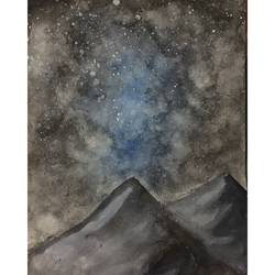 Mountain and the night sky size - 8.27x11.69In - 8.27x11.69