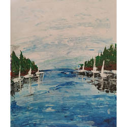Abstract Lake and boat Shore size - 11x15In - 11x15