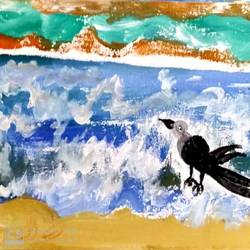 A thirsty crow in an ocean size - 16x20In - 16x20