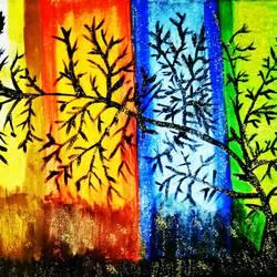 Modern Season Tree Painting size - 8x10In - 8x10