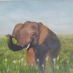 Asian Elephant Painting size - 11.69x16.53In - 11.69x16.53