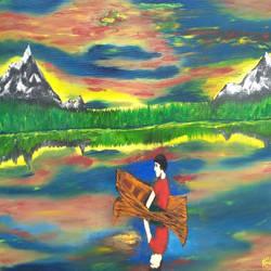 Peaceful lake size - 30x18In - 30x18