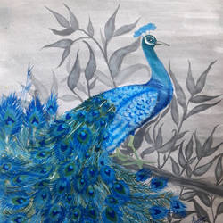 Peacock Painting size - 8.4x12.3In - 8.4x12.3