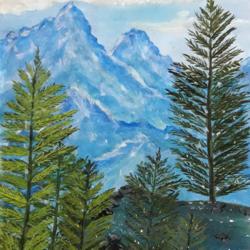 snowy Blue mountain  size - 8.4x12.3In - 8.4x12.3