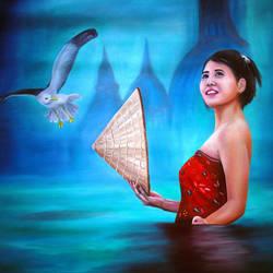 Liya The Bathing Beauty size - 29x23In - 29x23