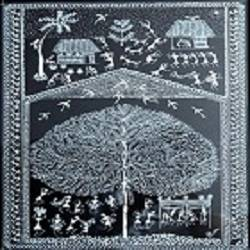 ANCIENT   WARLI ARTS HOLY TREE ON HANDMADE PAPER size - 10.5x15In - 10.5x15