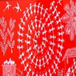 ANCIENT   WARLI ARTS  ON HANDMADE PAPER size - 8.5x4.5In - 8.5x4.5