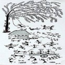 ANCIENT   WARLI ARTS  ON HANDMADE PAPER size - 8x22In - 8x22