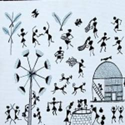 ANCIENT   WARLI ARTS  ON CANVAS size - 12x10In - 12x10
