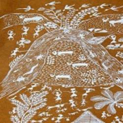 ANCIENT   WARLI ARTS  ON HANDMADE PAPER size - 6x12In - 6x12