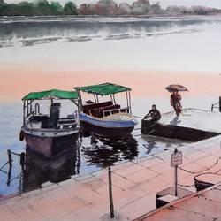 Ahalya Ghat - Narmada river, Maheshwar, MP size - 16.5x13In - 16.5x13