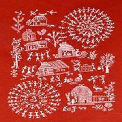 ANCIENT   WARLI ARTS  ON HANDMADE PAPER size - 10.5x15In - 10.5x15