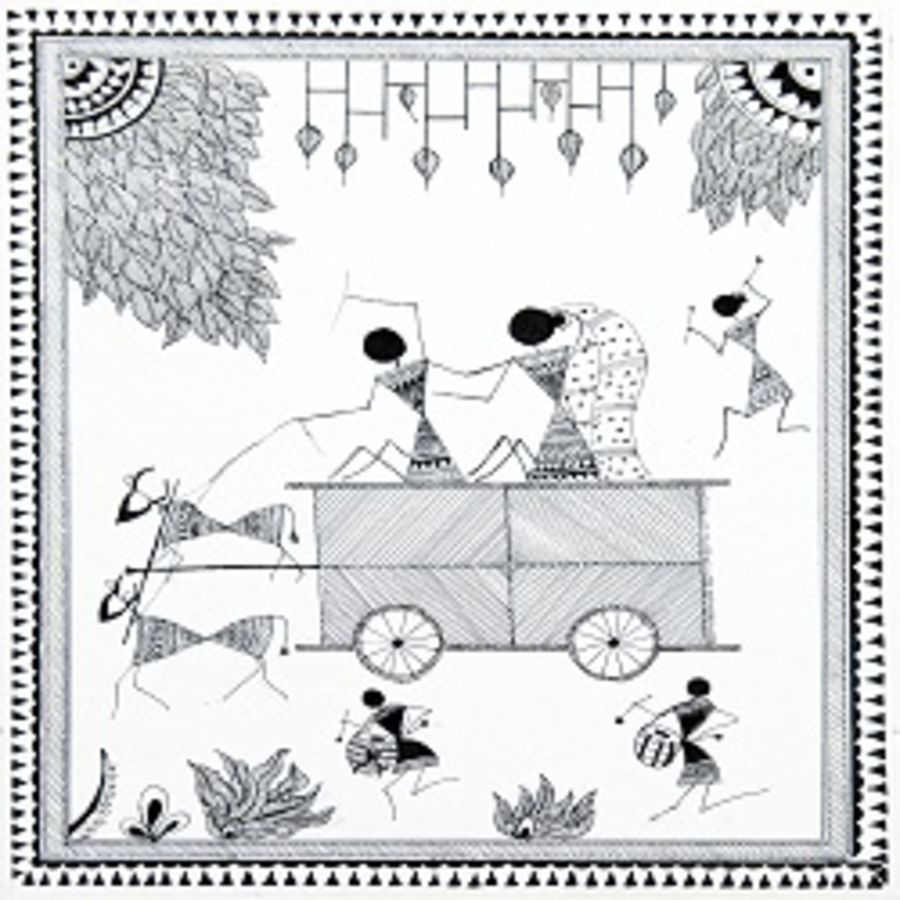 ancient   warli arts  on handmade paper, 10 x 12 inch, harpreet kaur punn,10x12inch,handmade paper,paintings,figurative paintings,conceptual paintings,warli paintings,paintings for dining room,paintings for living room,paintings for office,paintings for hotel,paintings for school,acrylic color,paper,GAL0599725929,ancient   warli arts  on handmade paper size - 10x12in,ADR9599725929