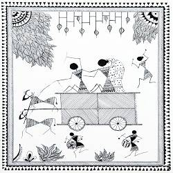 ANCIENT   WARLI ARTS  ON HANDMADE PAPER size - 10x12In - 10x12