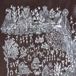ANCIENT   WARLI ARTS  ON HANDMADE PAPER size - 22x14In - 22x14