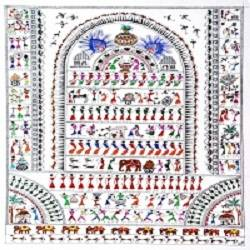 ANCIENT   WARLI ARTS  ON HANDMADE PAPER size - 22x30In - 22x30