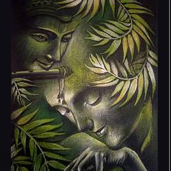 Radha Krishnan Acrylic Painting size - 22.5x32In - 22.5x32