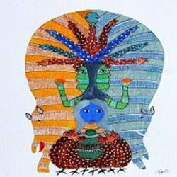 ANCIENT   GOND ARTS  ON HANDMADE PAPER size - 10x11In - 10x11