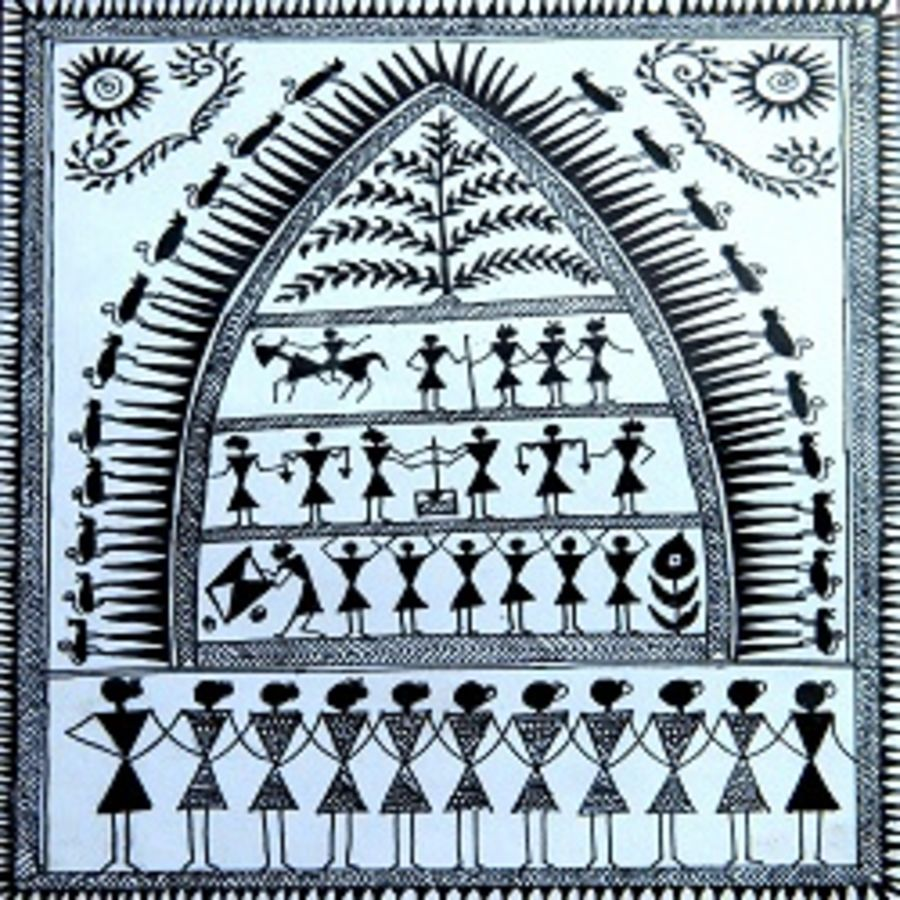 ancient   warli arts  on handmade paper, 6 x 8 inch, harpreet kaur punn,6x8inch,handmade paper,paintings,figurative paintings,modern art paintings,conceptual paintings,warli paintings,paintings for living room,paintings for office,paintings for hotel,acrylic color,paper,GAL0599725950,ancient   warli arts  on handmade paper size - 6x8in,ADR9599725950