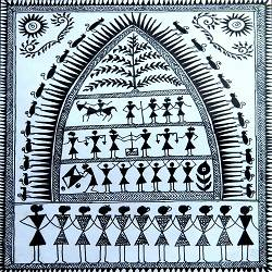 ANCIENT   WARLI ARTS  ON HANDMADE PAPER size - 6x8In - 6x8
