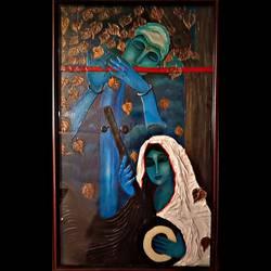 Lord Krishna and Meera size - 22x36In - 22x36