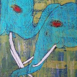Elephant art size - 12x16In - 12x16