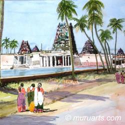 Girls visiting  village temple, Tamil Nadu, India size - 12x20In - 12x20