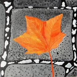 Orange leaf size - 24x18In - 24x18