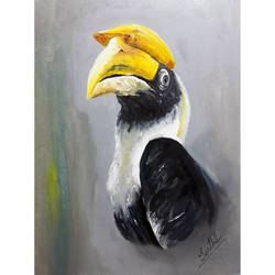 WILD LIFE PORTRAIT  - BIRD PAINTING - HORNBILL size - 11x15In - 11x15