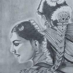Bharatnatyam Dance size - 12x16In - 12x16