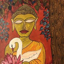 Buddha and the Bodhi tree size - 20x24In - 20x24