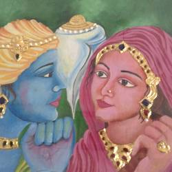 RADHA KRISHNA, AS COMMON VILLAGERS size - 12.5x11In - 12.5x11