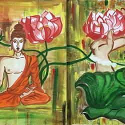 Buddha spiritual size - 18x12In - 18x12