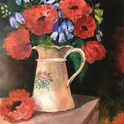 Poppy in a vase size - 12x18In - 12x18