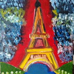 Eiffel Tower and Paris size - 12x14In - 12x14