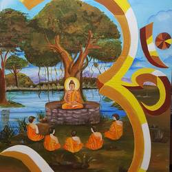 Buddha sitting with 5 monks  size - 24x36In - 24x36