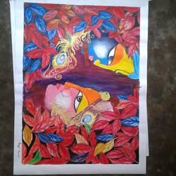 painting of lord  krishna & radha size - 22x30In - 22x30