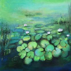 water lilies in the lake size - 20x20In - 20x20