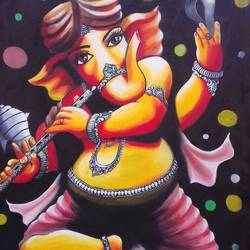 painting of god ganesha size - 25x35  In - 25x35