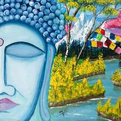 Meditating Buddha in Mountains size - 18.3x14In - 18.3x14