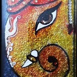 Ganesh ji glass painting size - 5x7In - 5x7