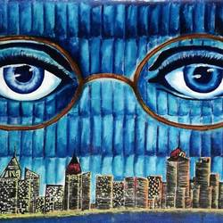 Newyork city under the eyes of Dr. T J Eckleburg size - 20x14In - 20x14