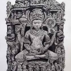 Lord vishnu meditation size - 11.7x16.5In - 11.7x16.5