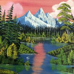 Surreal landscape of mountain lake size - 18x14In - 18x14
