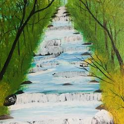 Waterfall in a forest size - 10x12In - 10x12
