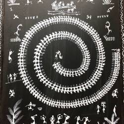 Warli with Kutch Mud Art size - 12x16In - 12x16